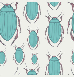 seamless pattern with hand-drawn beetles vector image