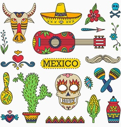 Set of Mexican traditional and cultural elements vector image