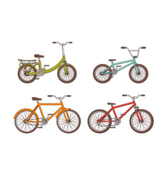 cartoon bicycles collection vector image