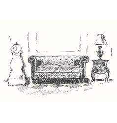 Cozy room sofa drawn sketch vector image
