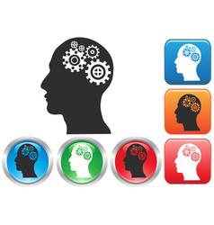 gear head button icons vector image vector image