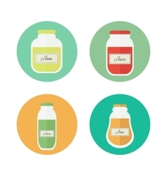 Jam and juice isolated flat icons vector image