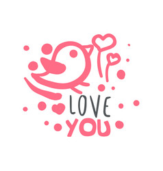 love you logo template colorful hand drawn vector image