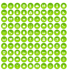 100 sewing icons set green circle vector