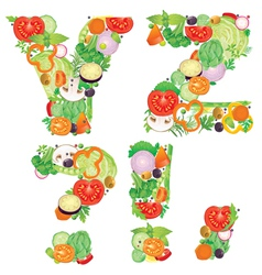 Alphabet of vegetables YZ vector image vector image