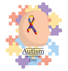 Autism awareness day human head with ribbon vector