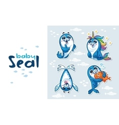 Baby Seal Sticker Collection Set vector