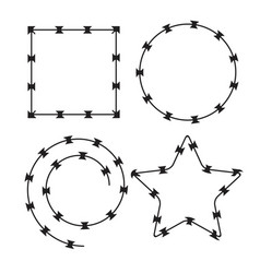 barbed wire black silhouettes frame pattern brush vector image