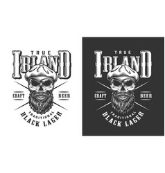 Bearded and mustached irish skull label vector