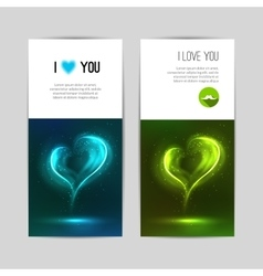 Beautiful greeting cards with Glowing hearts vector image