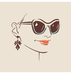 Beautiful woman wearing sunglasses vector