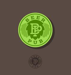 beer pub emblem hops and letters vector image