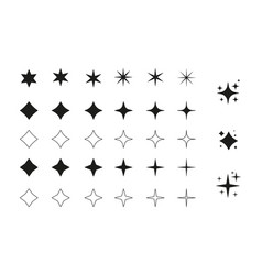big set star icon magic spark for graphic vector image