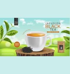 Black tea cup realistic tea bag product vector