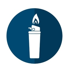 blue gas lighter flame icon shadow vector image