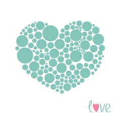 Blue heart made from many round dots Love card vector image