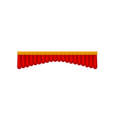 Bright red velvet pelmet curtain for theater or vector