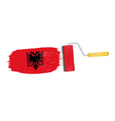 Brush stroke with albania national flag isolated vector
