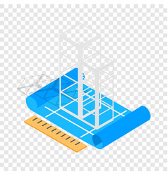 building construction plan isometric icon vector image