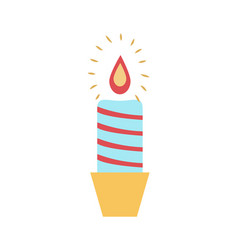 burning wax candle candlestick vector image