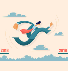 Businessman jumping from past to future vector