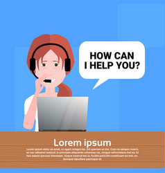 Call center headset agent woman bubble client vector