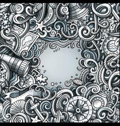 cartoon cute doodles hand drawn nautical frame vector image