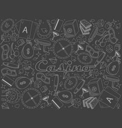 Casino piece of chalk line art design vector