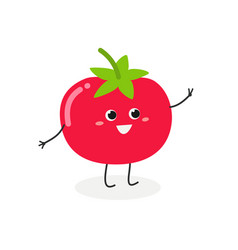cheerful cartoon tomato vector image