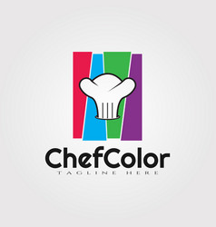 Chef color logo design food icon element vector