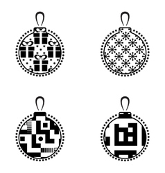 Christmas Ball Black And White Icon Collection vector