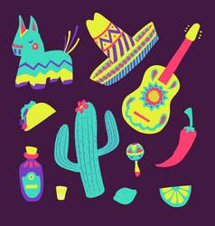 cinco de mayo mexican set vector image
