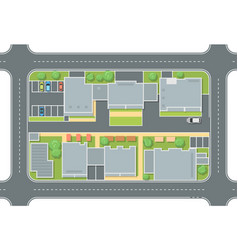 City street top view - modern colorful vector