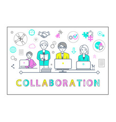 Collaboration poster with workers laptops vector