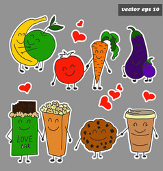 colored cartoon fruits sticker set on grey vector image