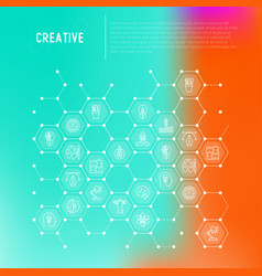 Creative concept in honeycombs with thin line icon vector