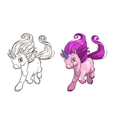 Cute cartoon pretty unicorn outline and colored vector