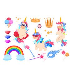 cute unicorns set cartoon rainbow magic wand and vector image