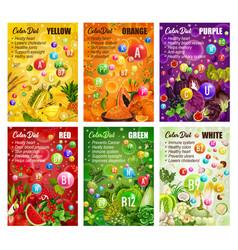 Detox color diet fruit and vegetables berries vector