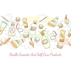 Doodle cosmetic and self care products hand drawn vector image