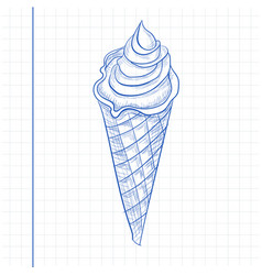 doodle ice cream sketch style vector image