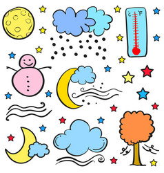 Doodle of weather theme element vector