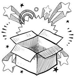 Doodle pop box surprise vector