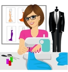 Dressmaker woman using sewing machine vector
