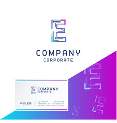 e company logo design with visiting card vector image