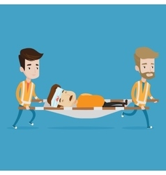 Emergency doctors carrying man on stretcher vector