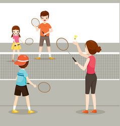 Family playing badminton for good health vector