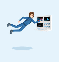 Female astronaut training flat vector