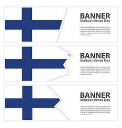 Finland flag banners collection independence day vector