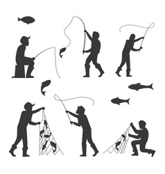 Fish and fisherman silhouettes isolated on white vector